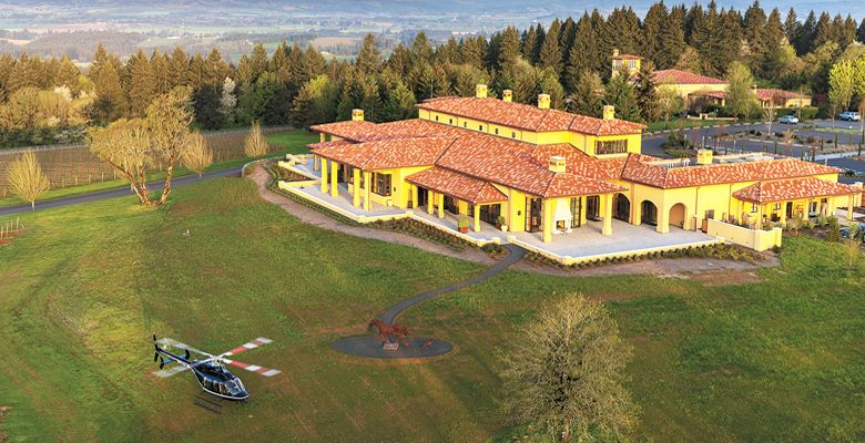 A helicopter lifts off at Domaine Serene in the Dundee Hills and heads to Downtown Portland. ##Photo courtesy of Hillsboro Aviation