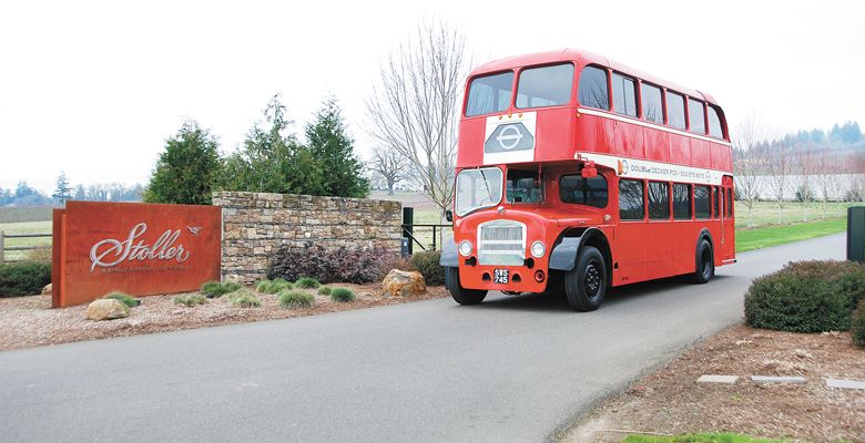 Double Decker PDX cruises in the Willamette Valley, including Stoller Family Estate near Dayton. ##Photo courtesy of Double Decker PDX