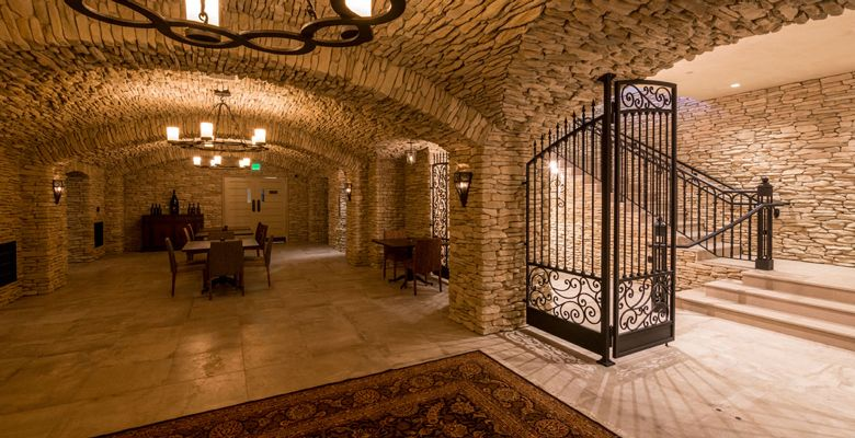 The Clubhouse cave was inspired by the Evenstad's Burgundy estate. ##Photo Courtesy of Domaine Serene