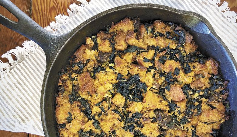 Cast-Iron Focaccia Stuffing with Merguez from Mac Market. ##Photo provided