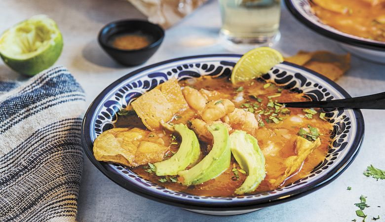 Sopa de Lima with Shrimp and Habañero. Recipe from Chef Kelly Myers, Xico, Portland. ##Photo by Kathryn Elsesser