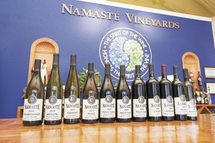 Namasté offers a wide variety of wines sold inside the estate's tasting room.