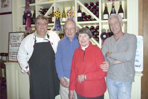 Don Mixon, Russ and Margaret Lyon and Bret Gilmore at the Artisan Tasting Room for a Depression Session dinner.