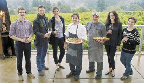 Raptor Ridge staff hosted the Auxtoberfest event with help from Recipe. From left: Jonathan Ziemba, Scott Shull, Annie Shull, Paul Bachand, Manny Virgen, Stacy Heatherington and Sharon Gollery. ##Photo by Andrea Johnson