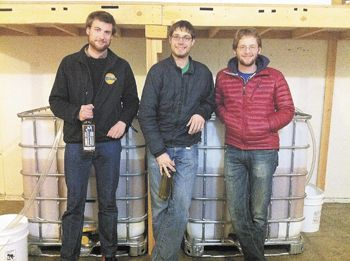 From left: Chase Drum, Simon Blatz and Simon Spencer at the Blue Dog Mead production facility now located in Eugene.