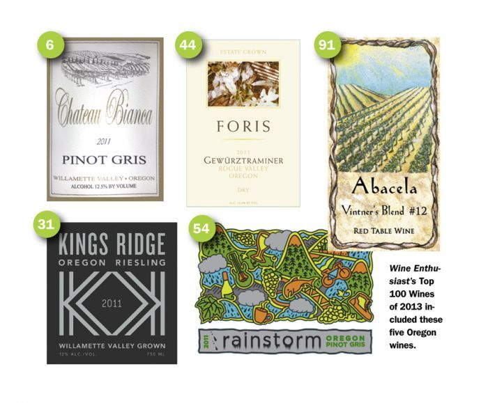 Wine Enthusiast's top 100 Wines of 2013 included these five Oregon wines.