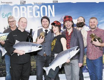Participating local chefs celebrate Feast Portland s launch in NYC on May 22.  From left: Ken Forkish (Ken s Artisan Bakery/Pizza), Vitaly Paley (Paley s Place), Elias Cairo (Olympic Provisions), Naomi Pomeroy (Beast), Jesse Manis (Cacao), Aubrey Lindley (Cacao) and Nate Tilden (Clyde Common).