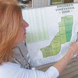 Page Knudsen Coles shows a map of the replanting being done at Knudsen Vineyards. ##Photo by Jade Helm