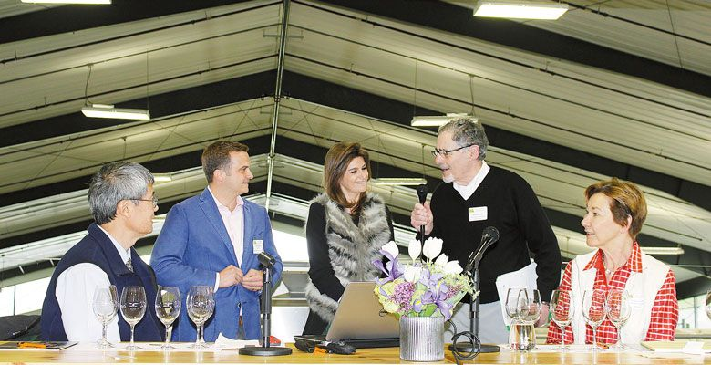 (From left) Mark Chien, Oregon Wine Research Institute; Bryan Maletis, Fat Cork; Laureen Baillette, Champagne Jean Baillette-Prudhomme; Jack Bagdade, Domaine Meriwether (founder); and Eileen Crane, Domaine Carneros, discuss bubbly at the Oregon Sparkling Wine Symposium, hosted at Ponzi Vineyards on April 14. ##Photo provided.