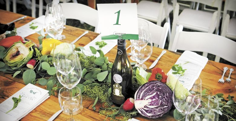The table is set for the Barrel Auction catered by AZ Catering. ##Photo by Steven Addington Photography
