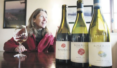 Véronique Boss-Drouhin tells the story of Roserock Vineyard and samples its first releases, two Pinot Noirs and a Chardonnay, from 2014. ##Photo by Rockne Roll
