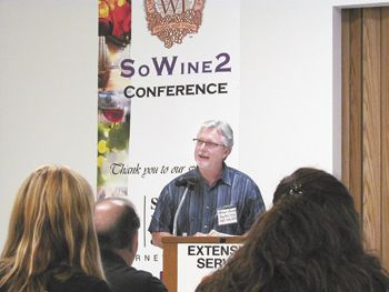 Michael Donovan speaks to attendees at SoWine 2, June 14 in Central Point.