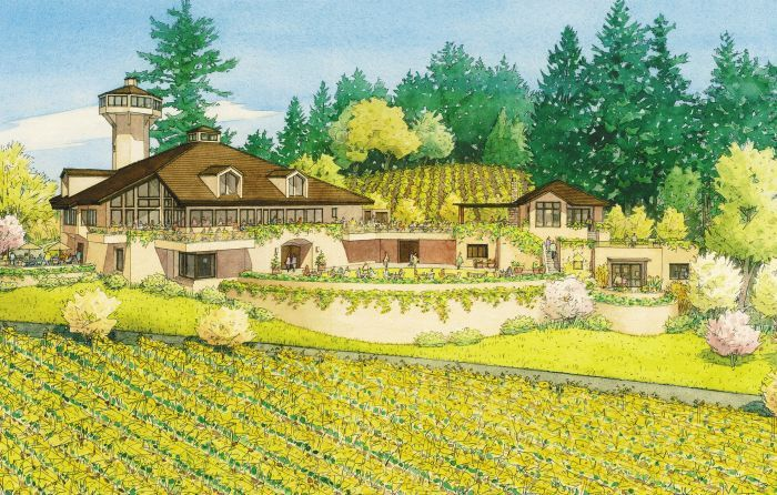 A rendering of the winery's latest remodel shows how the outside is incorporated with the interior via decks and large windows.