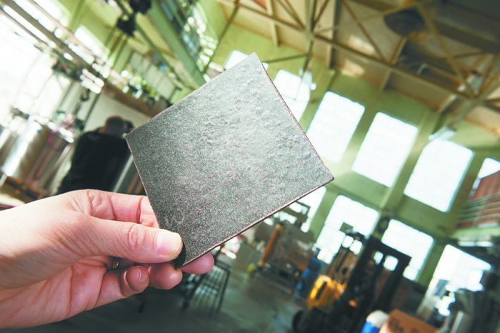 OSU researchers made this biodegradable fiberboard from grape pomace.