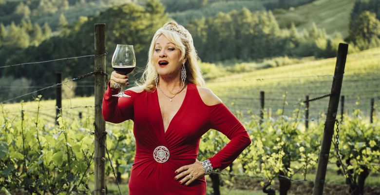Opera singer/restaurant owner Nancy Emrick sings an aria at Elk Cove's stunning estate vineyard outside Gaston. ##Photo by Kathryn Elsesser