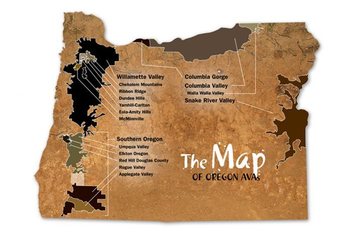 Map of Oregon's 17 official American Viticultural Areas.