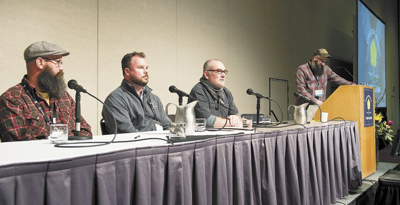 ": The panel for ""Understanding control points from crush pad to barrel in the minimal intervention cellar"" included (from left): Mike Roth of Lo-Fi Wine in Santa Barbara; Chad Stock of Craft Wine Co.; Eric Texier of Brézème; and Andrew Bandy-Smith of Failia Wines. ##Photos by Carolyn Wells-Kramer"
