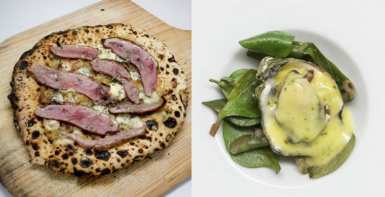 LEFT: Wood-fired theme: Smoked duck and caramelized onion pizza. RIGHT: St. Patrick's Day theme: broiled Netarts Bay oyster from Nevor Shellfish Farm with Champagne sabayon and sorrel. ##Photos provided