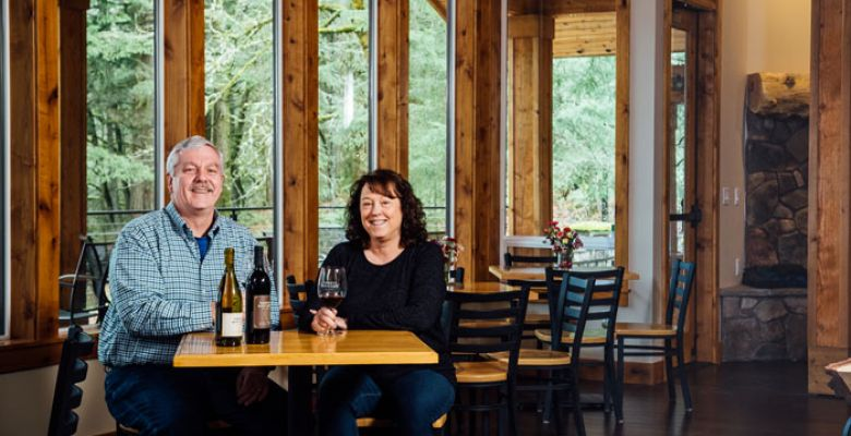 Parrett Mountain Cellars owners Marlene and Dennis Grant. ##Photo by Kathryn Elsesser