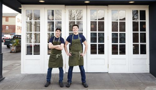 John Schaible (left) and Kei Ohdera, owners Pasture PDX, the city's new butchery/restaurant. ##Photo provided