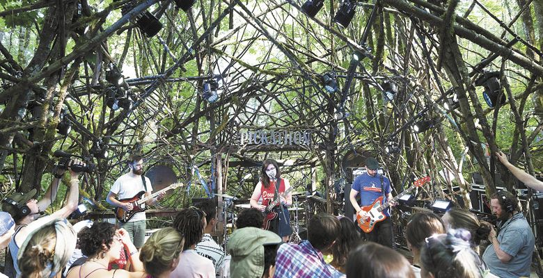 Lucy Dacus plays in the woods at Pendarvis Farm during Pickathon 2017. ##Photo Provided