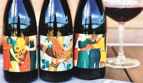 "Artist Sheree Brand's paintings adorn Ponzi Vineyards' new ""Together"" series of wine labels. ##Photo courtesy of Ponzi Vineyards"
