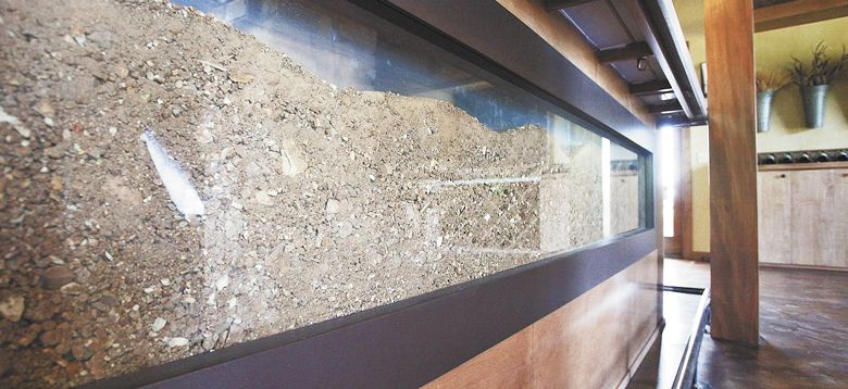 A display in Lenné's tasting room shows the Peavine soil present in the vineyard. ##Photo by Rockne Roll