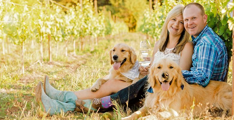 Kristin and Devin Andolsen and their Golden Retrievers, Doofs and Champers, in the vineyard. ##Photo provided