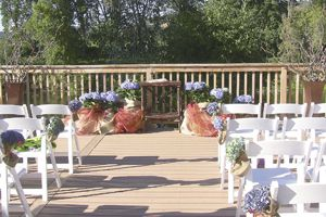 Weddings at Pyrenees often take place on the 150 foot deck that straddles the Umpqua River.