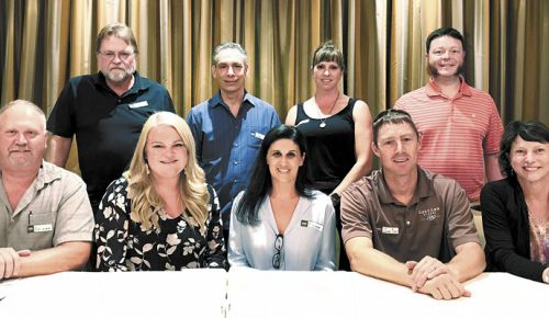 Standing: (Left to right) Joe Ginet (Plaisance Ranch), Dan Marca (DANCIN), Ashley Campanella (Edenvale), Darius Price (Quady North). Sitting: Ross Allen, RVV President (2Hawk); Ashley Cates, RVV Vice President (Agate Ridge), Dionne Irvine (Irvine & Roberts), Chad Day, RVV Treasurer (RoxyAnn), Barbara Steele (Cowhorn). Not pictured: Eric Weisinger (Weisinger Family Winery), Cal Schmidt (Schmidt Family Vineyards), Laura Naumes (Naumes, Inc). ##Photo by Maureen Battistella
