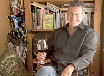"Rex Pickett, author of ""Sideways"" and it's new sequel, ""Vertical,"" relaxes with a glass of Oregon Pinot Noir in his home in Santa Monica, Calif."