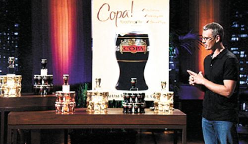 "James Martin presents his business venture, Copa di Vino, to judges on the ABC-TV show ""Shark Tank."""