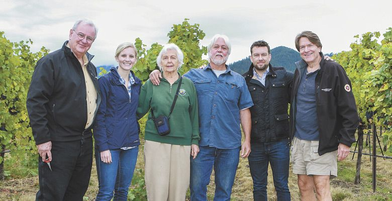 (From left) Rep. David Gomberg (D-10); Christine Clair, winery director of Willamette Valley Vineyards; Traute and Michael Moore, Griffin Creek winegrowers; Justin King, national sales manager for King Estate; Jim Bernau, founder of Willamette Valley Vineyards. ##Photo Provided