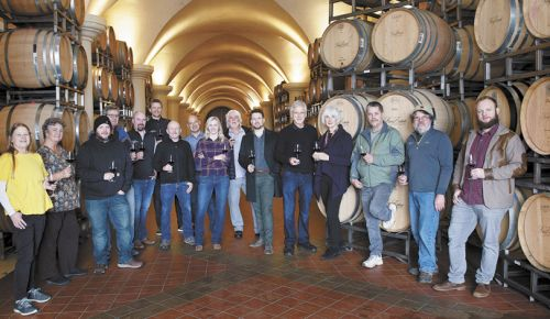 Oregon Solidarity winery prinicpals, winemakers and growers. From left: Amy Anderson, Villa Novia Vineyards; Laura Lotspeich, Pheasant Hill Vineyard; Taylor King, King Estate; Jim Ball, Five Tollers Vineyard; Brent Stone, King Estate; Ryan Johnson, King Estate; Ed King III, King Estate; Joe Ibrahim, Willamette Valley Vineyards; Christine Clair, Willamette Valley Vineyards; Michael Moore, Quail Run Vineyards; Justin King, King Estate; Leon Pyle and Cathy DeForest, Maison Tranquille; Mike Anderson, Villa Novia Vineyards; Ray Nuclo, King Estate; and Joe King, King Estate. ##Photo provided