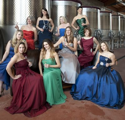 Sommeliers (from left)  Savanna Ray, Gaironn Poole, Tia Hubbard, Jennifer Cossey, Carrie Stigge, Gretchen Allen-Wilcox, Erica Landon, Dana Frank, Caryn Benke and Toni Ketrenos toast their profession at Soléna and Grand Cru Estates.  Photo by Andrea Johnson.