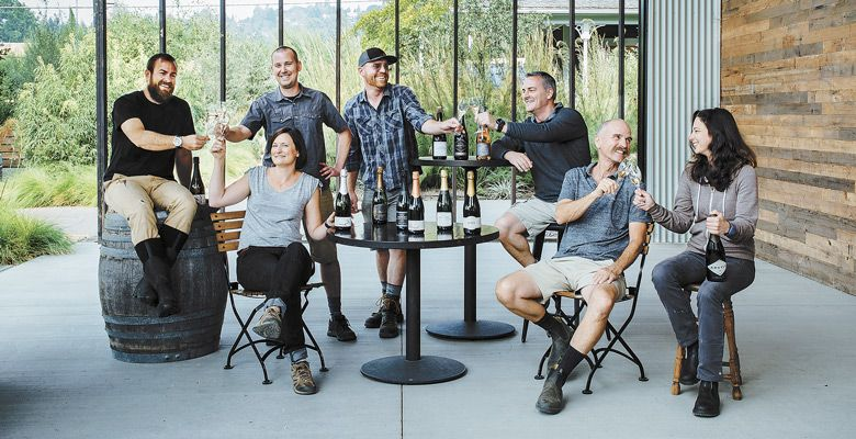 Standing: Nate Klostermann, Shane Moore of Gran Moraine. Sitting: Scott Dwyer of Chemeketa Community College Wine Studies Program; Robin Hawley of Sokol Blosser; James Frey of Trisaetum; Rollin Soles of ROCO Winery; and Ksenija Kostic House of Argyle. ##Photo by Kathryn Elsesser