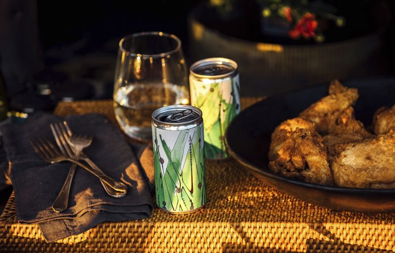 Roots Wine Company's canned Sauvignon Blanc served with Bellhop's Southern Fried Chicken. ##Photo by Kathryn Elsesser
