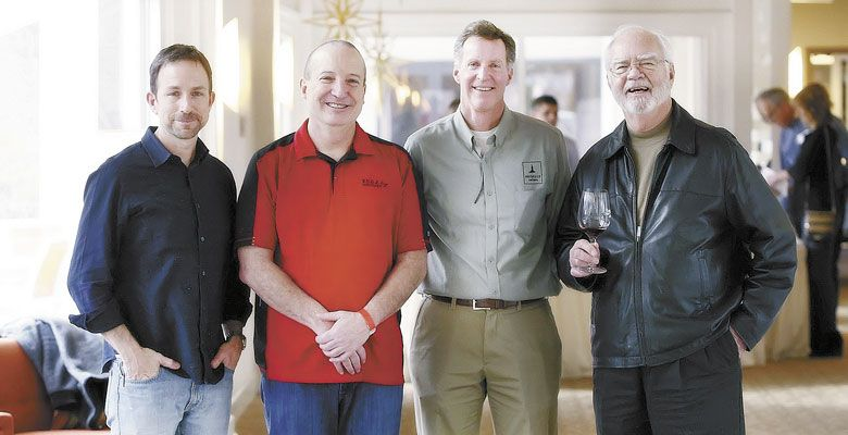 From left: Eric Weisinger of Weisinger Family Winery, Les Martin of Red Lily Vineyards, Scott Steingraber of Kriselle Cellars and Earl Jones of Abacela Winery at the 2017 Oregon Tempranillo Celebration. ##Photo by Steven Addington Photography