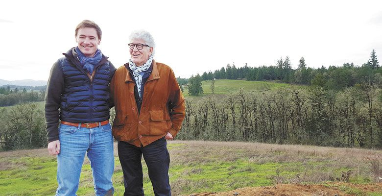 Thibault Gagey (left), head of operations for Maison Louis Jadot's Oregon project, Rèsonance, stands with legendary winemaker Jacques Lardière at the well-regarded Oregon vineyard. ##Photo provided