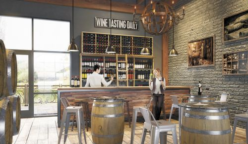 The Tasting Room interiors of The Wineries at Woodland will include warm, rustic colors and natural wood. ##Image Courtesy of WIneries at Woodland