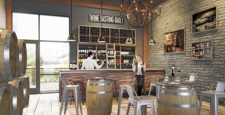 The Tasting Room Interiors Of Wineries At Woodland Will Include Warm Rustic Colors And