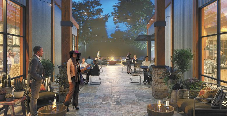 A lively patio connects two adjacent buildings in the design of the development. ##Image Courtesy of WIneries at Woodland