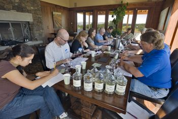 A panel of 12 tasters determine if they can detect a difference between Doe Ridge Vineyard s Biodynamic and LIVE blocks at Grand Cru Estates near Yamhill.