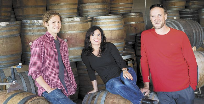Pascal Brooks, Janie Brooks Heuck and winemaker Chris Williams. ##Photo by Andrea Johnson