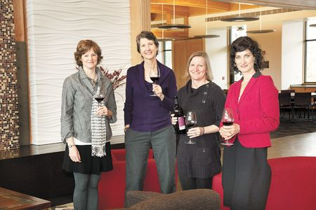 Sue Brandborg, Hilda Jones, Susan DeMara and Sandy Glaser gather at Umpqua Community College's Southern Oregon Wine Institue's Danny Lang Center in Roseburg. SOWI is a wonderful resource for new and established winemakers, and has a number of female students enrolled in the two-year program.
