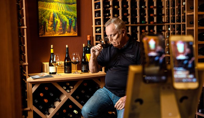Utopia Vineyard owner Dan Warnshuis connects with eager customers online via social media sites Facebook and Instagram from his Newberg winery.