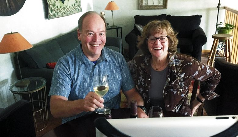 Terry and Sue Brandborg raise a toast to their online audience. ##Photo provided