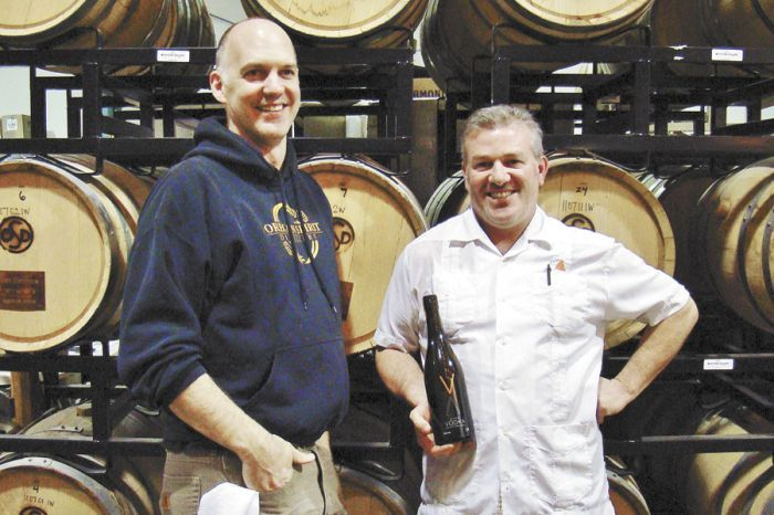 Distiller Brad Irwin, left, with Volcano winemaker Scott Ratcliff.