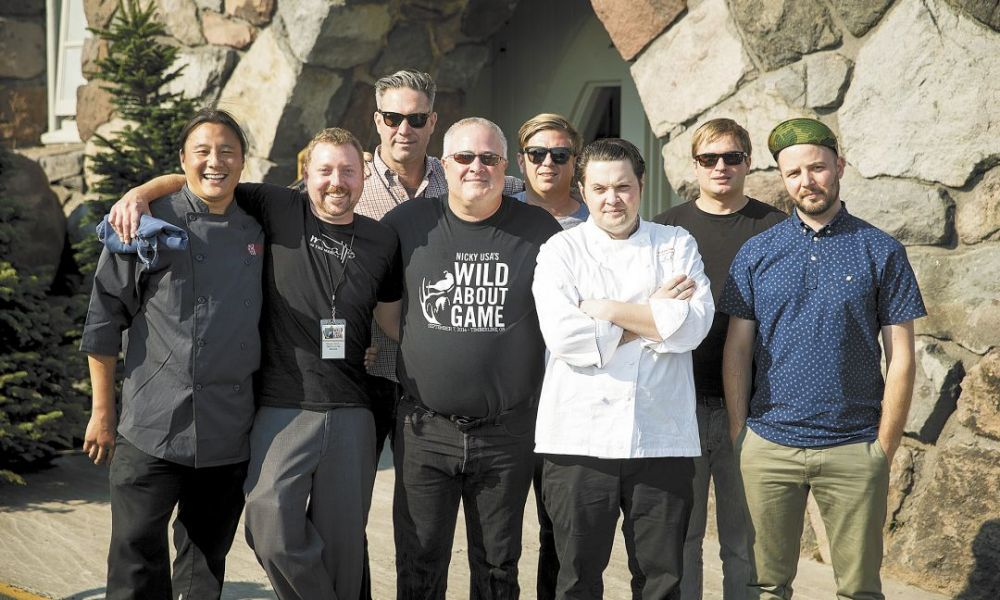 From left: Jin Soo Yang of Bamboo Sushi, Portland; Shane Ryan of Matt's in the Market, Seattle; Jason French of Ned Ludd, Portland; Geoff Latham, co-founder of Nicky USA; Jason Stoneburner of Bastille, Seattle; Rob Sevcik of Loulay, Seattle; Josh Scofield of Toro Bravo, Portland; Joshua McFadden of Ava Gene's, Portland. ##Photo by John Valls