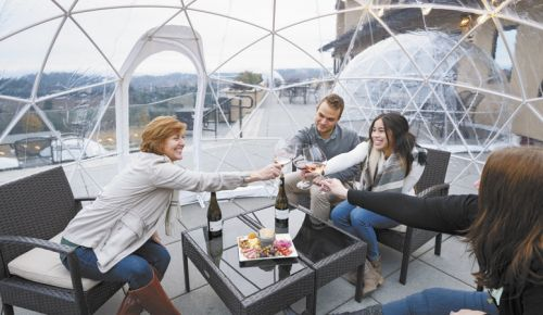 Guests relax inside their own personal cocoons at Willamette Valley Vineyards. ##Photo by Andrea Johnson